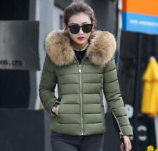 Winter Women Down Cotton Warm Jacket Slim Short Fur Collar Hooded Coat Parka