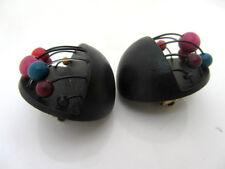 anciennes boucles d'oreille 80's boules de couleurs mobiles vintage earrings
