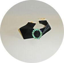 Samthalsband,36 mm ,Kropfband , schwarz.Trachten,Strass,grün