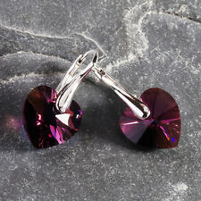 925 Sterling Silver Earrings Heart Love *Amethyst AB* Crystals from Swarovski®