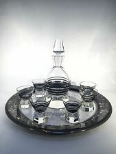 Art Deco Crystal Enamel Decanter Set with 6 Glasses and Overlay Tray ~ Czech