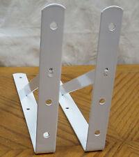 """2 Heavy Duty White Steel 12"""" x 8"""" Shelf Brackets! 500 Lb Metal Lot L Countertop"""