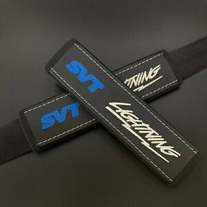Black seat belt pads Covers with blue & white embroidery SVT Lightning 2pcs