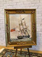 "Framed Naval Print - ""H.M. FRIGATE POMONE"" Vintage Dollhouse 1:12"