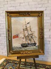 "Vintage Dollhouse Framed Naval Print - ""H.M. FRIGATE POMONE"" 1:12"