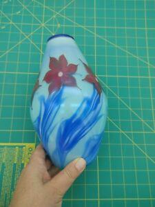 Blue vase with red flowers signed Vandermark Merrit 1977