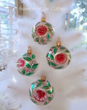 EUROPEAN HANDCRAFTED GLASS CHRISTMAS ORNAMENT HOLLY GREEN GOLD RED REFLECTIVE