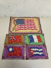 Vintage Cigar Flannel Felts World Flags Usa, Cuba, France, China, G.B.