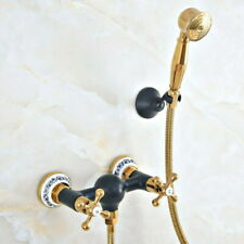 Black Gold Brass Shower Faucets Mixer Tap With Hand Sprayer Bathroom Taps