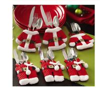 Lot Porte Range Couverts Noël Père Noel Décoration Table Fête