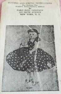 "NADIA BALLERINA PARIS DOLL Co #103 BALLET DRESS Sewing Pattern for 18"" UNCUT NY"