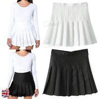 UK Women Girl Slim Thin High Waist Pleated Tennis Skirts Mini Dress Playful J015