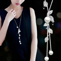 Jewelry Pearl Flower Long Tassel Women Necklace Crystal Chain Pendant Sweater
