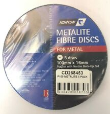 METAL FIBRE DISCS -NORTON METALITE FIBRE DISCS P100  (PACKS OF 5) 100MM X 16MM