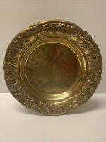 "Brass Ornate Design Serving Platter With 5"" Base and 2 Additional Serving Dishes"