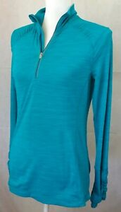 Kirkland Womens 1/4 Zip Pullover Shirt Small space dye Teal thumbholes EUC