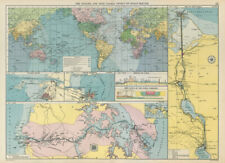 PANAMA & SUEZ CANALS effect on Ocean Routes. Maps profiles. LARGE 1952 old