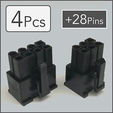 x2 6 & 8 pin Female PCI-e GPU Power Connector Socket - Black + 28 Pins