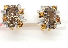 Bellari Topaz Citrine Diamond 18kY gold dual NON Pierced & post earrings NWOT