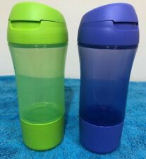 TUPPERWARE FAST QUENCH 400 ML 3 PCE SPORTS DRINK BOTTLE X2 Green And Purple
