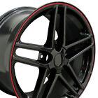 18x10.518x9.5 Rims Fit Corvette Camaro C6 Wheels Z06 Black Wred Band Set Of 4