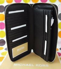 NEW MICHAEL KORS SIGNATURE  PVC JET SET TRAVEL LARGE  ZIP  WALLET IN BLACK.