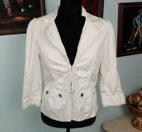 White House Black Market Women's White Long Sleeve Blazer Top Jacket Size 4