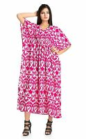 Indian Ikat Printed Cotton Long Kaftan Summer Dress Drawstring Waist Pink Tunic