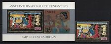 CENTRAL AFRICA 1979, Year of the Child, Gold foil RARE  1 stamp +s/s block