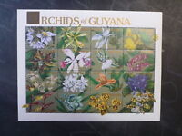1990 GUYANA ORCHIDS OF GUYANA 16 STAMP SHEETLET MINT #4