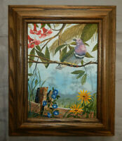 PINK NECKED FRUIT DOVE original oil on canvas painting artist signed framed bird
