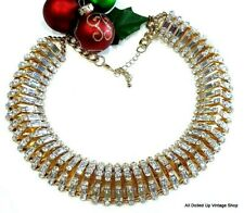 WOW! STATEMENT NECKLACE VINTAGE? RUNWAY HEAVY GOLD TONE CRYSTAL RHINESTONES
