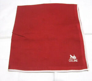 """USED DARK RED HORSE CARRIAGE PATTERN COTTON 18"""" POCKET SQUARE HANDKERCHIEF  MEN"""