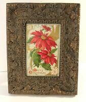 Vintage Victorian Style Ornate Picture Photo Frame with Antique Christmas Card 2