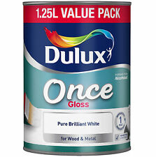 Dulux 1.25L Once Gloss Brilliant White For Wood Metal One Coat Interior Exterior