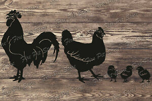 Chicken and Rooster. Vector art file. Digital files dxf, svg, png, ai, eps, cdr