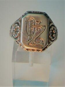 ❤❤ UNUSUAL Vintage Men's SIGNET Monogram GOTHIC Letters STERLING Silver RING ❤❤