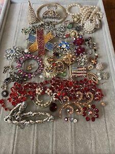 vintage jewelry repair/harvest/craft lot all rhinestone/crystal