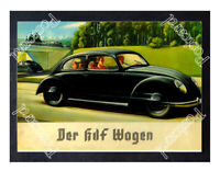 Historic Volkswagen Beetle, 1930s Advertising Postcard