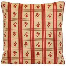 Squares Flowers Cushion Cover Henrietta Spencer Red Vintage Style Pillow Case