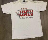 VTG 1990 UNLV Rebels Basketball National Champions Screen Stars T Shirt Size S/M