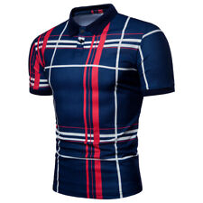 Fashion Men's Striped Casual T-Shirts Slim Fit Short Sleeve Shirt Top