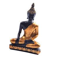 Resin Budha Miniature Meditation Statue Sakyamuni Religious Figurine -Gold