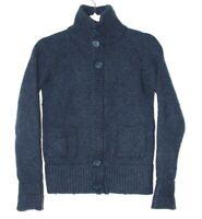 Activewear women's blue knit sweater, full zip, lambs wool blend, size 6/8, EUC