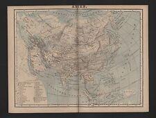 Landkarte map 1885: ASIEN. Asia Indien Borneo Vietnam Thailand