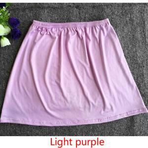 Lady Half Slip Skirt Underskirt Petticoat A-Line Short Elastic Waist Solid Color