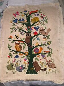 Vintage Hand Embroidered 1982 Animal tree of life EMBROIDERED Piece of Material