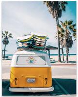 POSTER California Dreamin Flag Bear on Surfboard