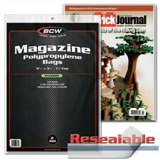 100 Bcw Resealable Magazine 2-Mil Archival Poly Bags + Acid Free Backer Boards