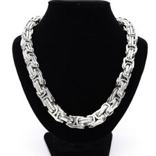 Heavy 12mm 24inch Silver Tone Stainless Steel Men Chain Byzantine Necklace Gift